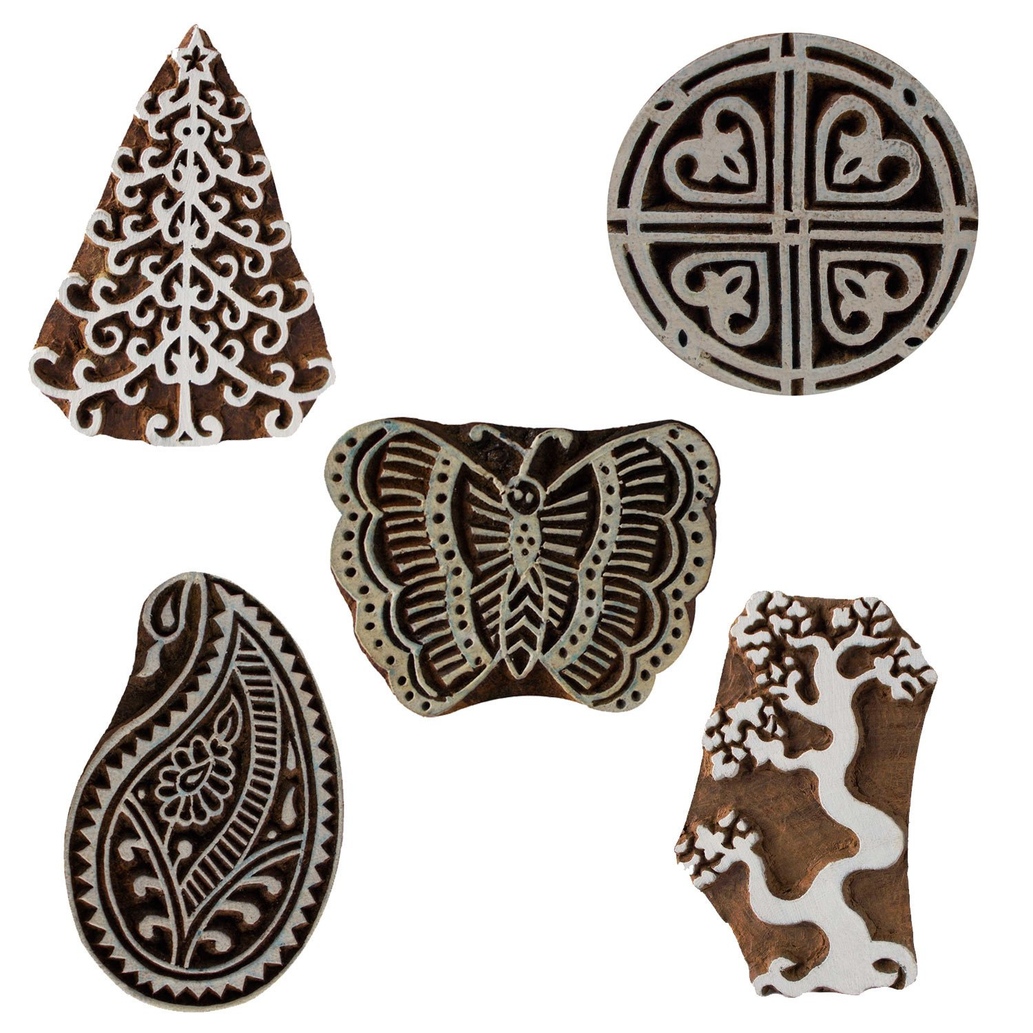 Set of 5 Wooden Textile Handmade Butterfly Paisley Tree Floral Printing Textile Block Clay Potter Craft Scrapbook Stamps