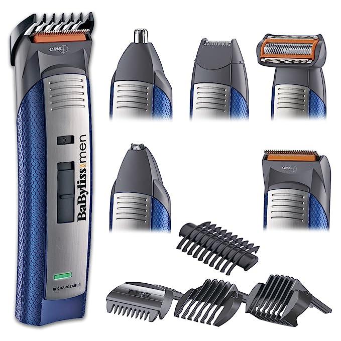 BaByliss E836XE - Kit de corte de pelo, multigroom, maquinilla eléctrica para cabello y barba, cortapelos hombre, perfilador, cabezal para nariz y ...