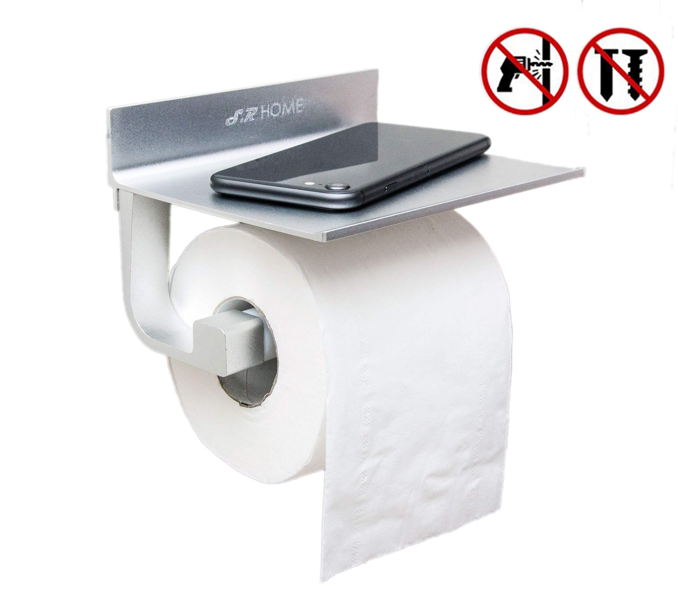 S.R HOME Portarrollos para papel higiénico Autoadhesivo sin taladrar, con Soporte, Espacio de Aluminio