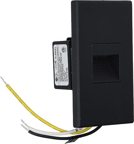 Goodlite G-20021 Universal Vertical-Horizontal Indoor Outdoor, 3W 200 lm Stair, Super White 5000k, Black 120v LED Step Light