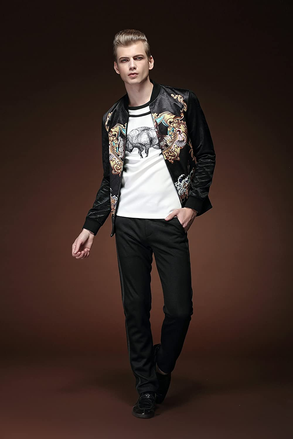 FANZHUAN Spring Mens Fashion Black Printed Jacket Faux Horse Fur Material  Slim Fit at Amazon Men s Clothing store  2ec283729