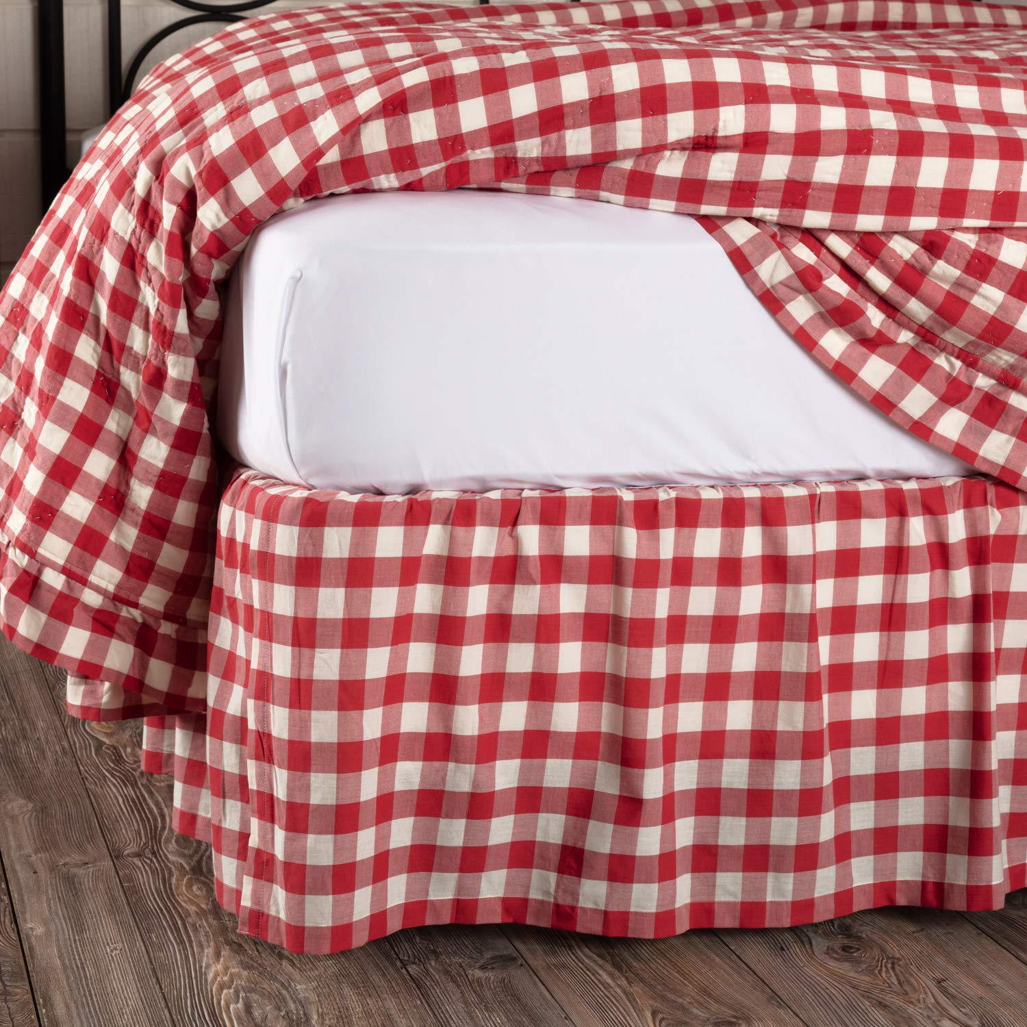 VHC Brands Farmhouse Annie Cotton Split Corners Gathered Buffalo Check Twin Bed Skirt Red Country