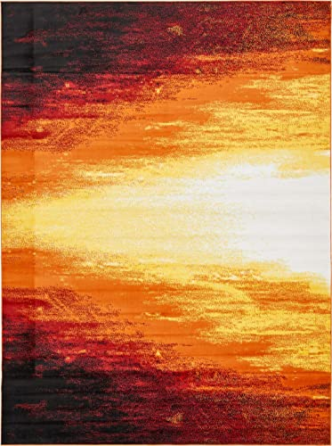 Unique Loom Metro Collection Bright Warm Colors Abstract Light Orange Area Rug 9 0 x 12 0