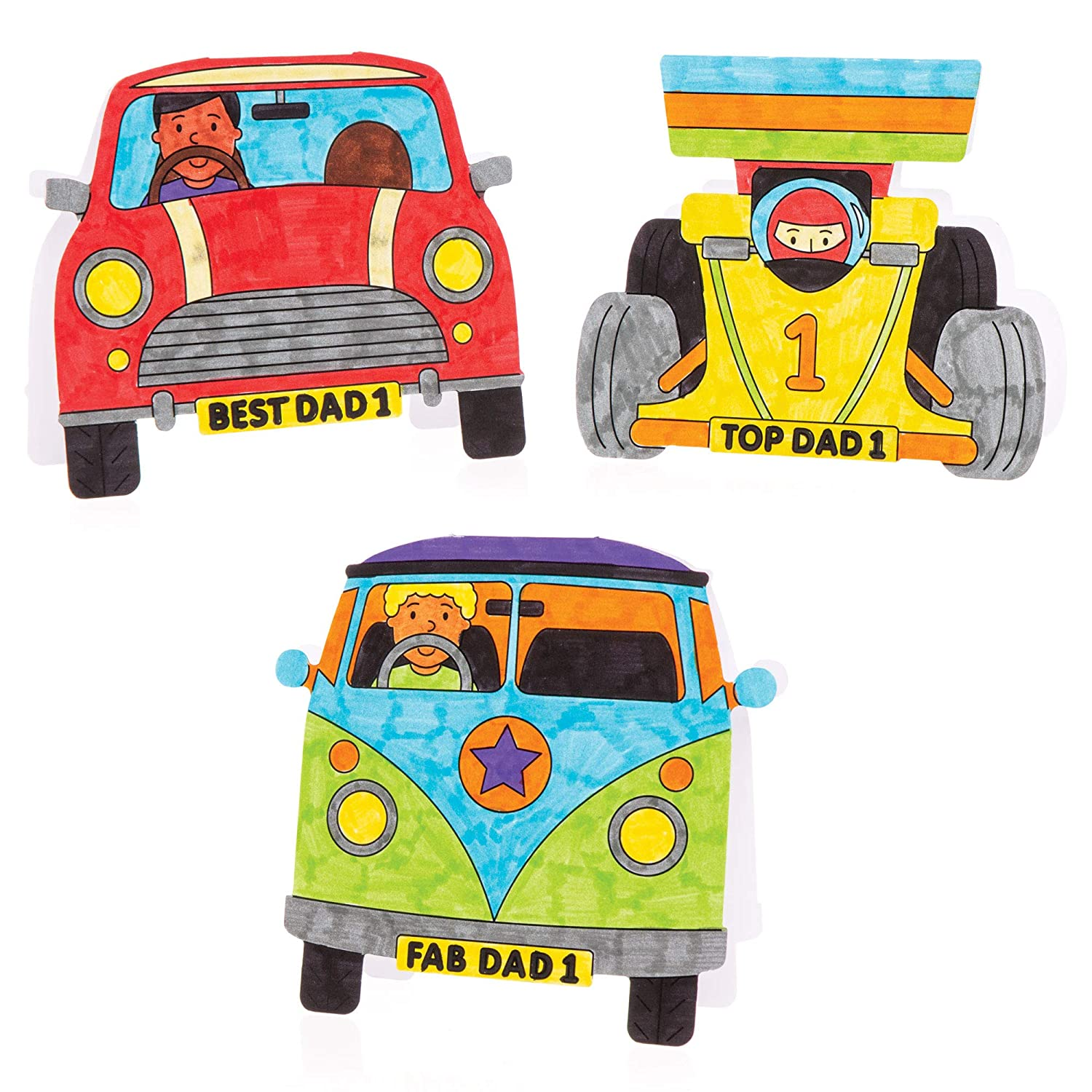 Pack of 8 for Kids To Decorate Personalise and Gift for Fathers Day Baker Ross Fathers Day Car Color in Cards