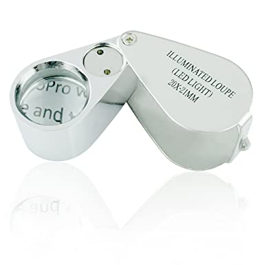 for Jewellery//Gems//Coins//Currency S/&K 30X Loupe Magnifier with LED Light Full Metal Scale Sewing Magnifing Glass