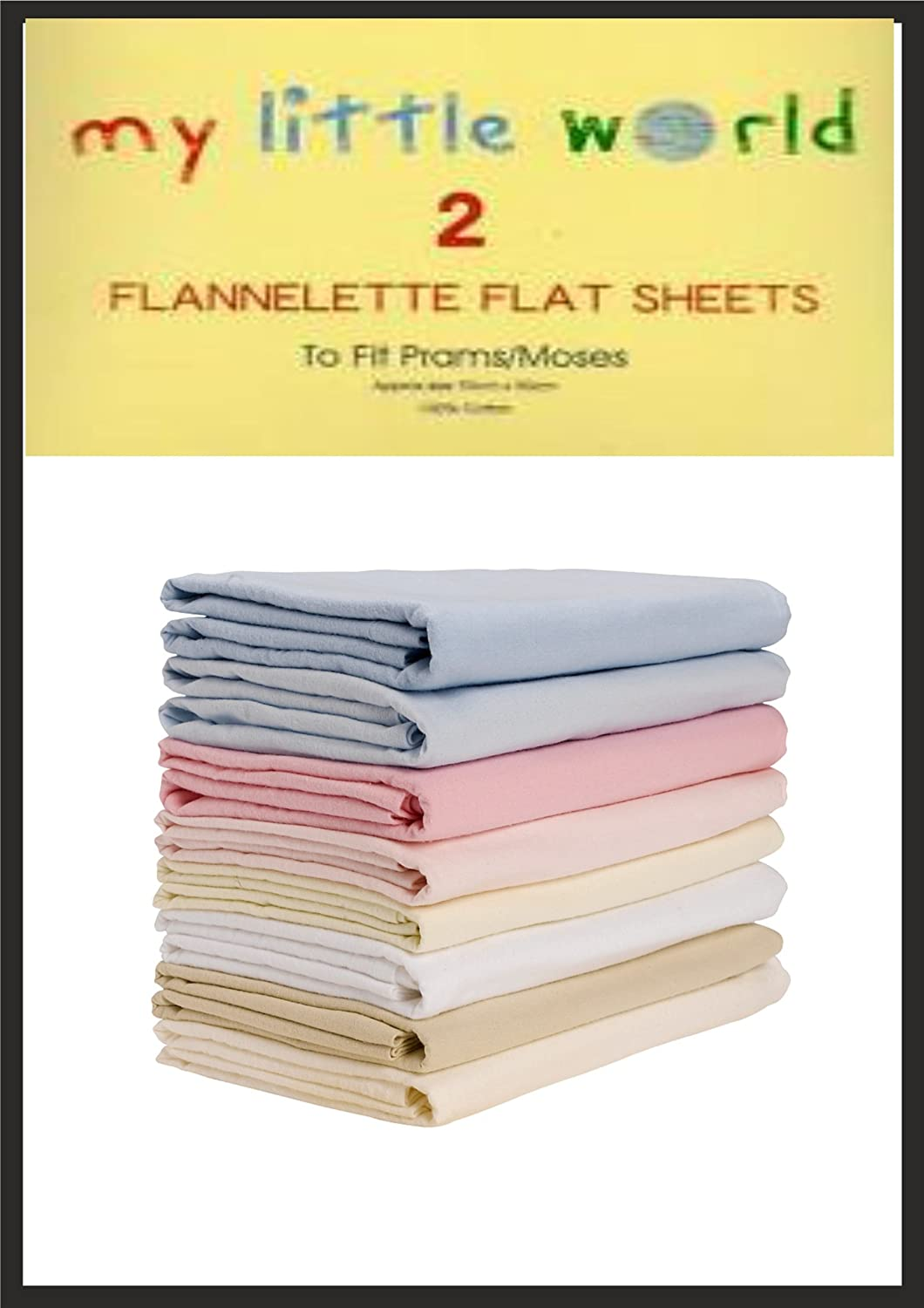 Pram / Moses Basket Blue Flannelette Flat Sheets Baby Nursery Bedding Soft Touch Pack of 2 100% Cotton My Little World 5029497700236