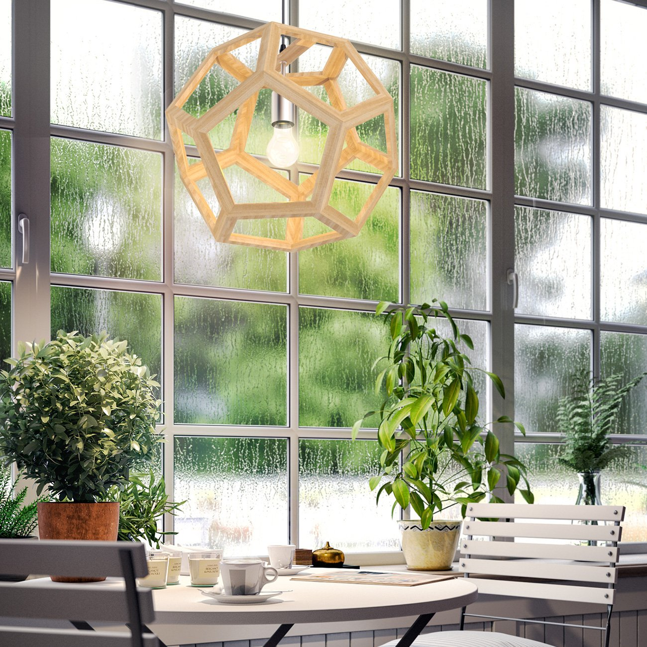 Tomons Hollow Design Wood Ceiling Pendant Lamp, Geometry Shape, E26/E27 Bulb Base, 60 Watts Incandescent Bulb, 12 Watts LED Bulb For Dining Room, Living Room, Bedroom, Study Room - PL1002 by tomons (Image #6)