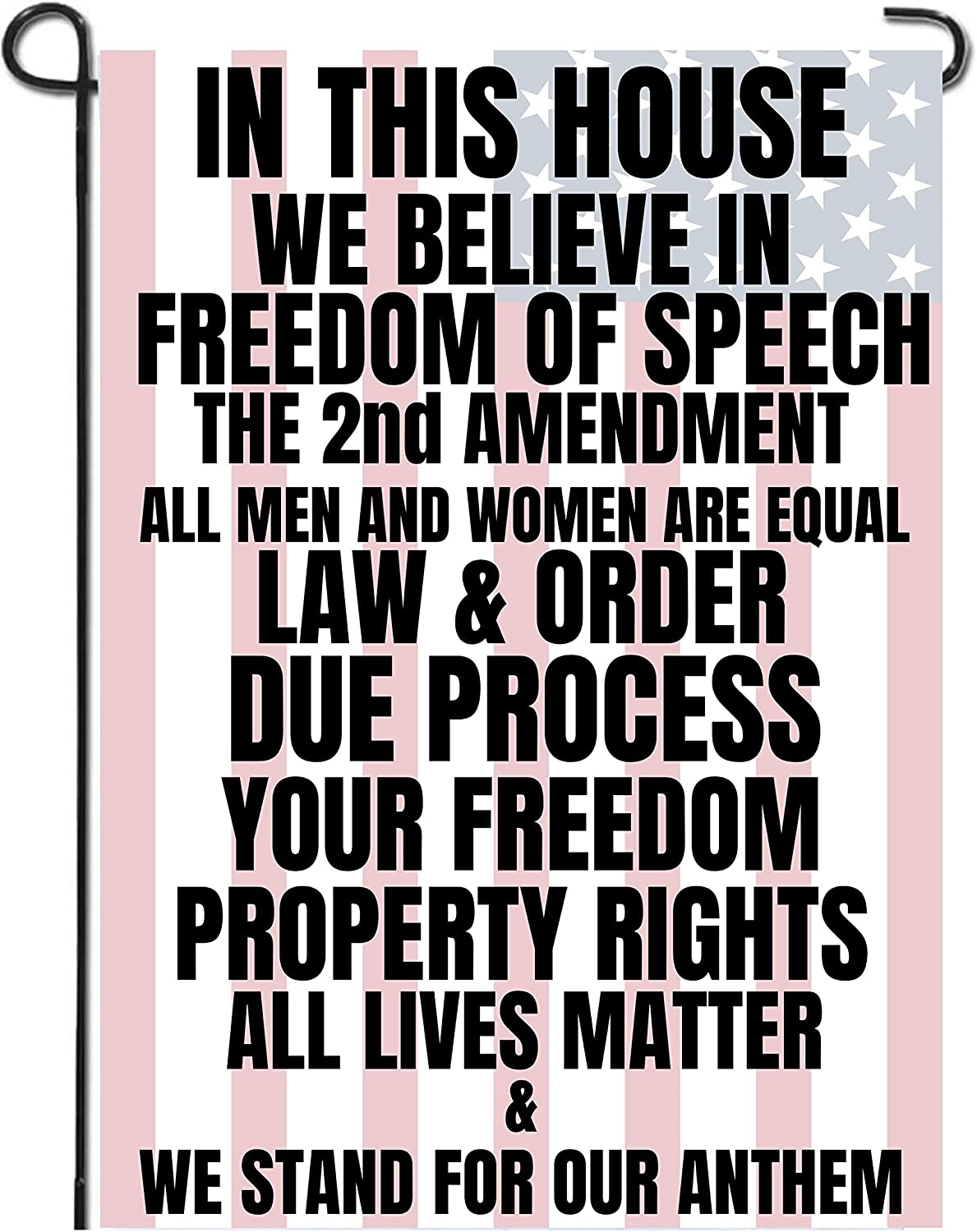 "Libertee Shirts in This House we Believe in The 2nd Amendment Garden Flag, 12""X18"" Conservative Patriotic Free Speech Yard Sign"