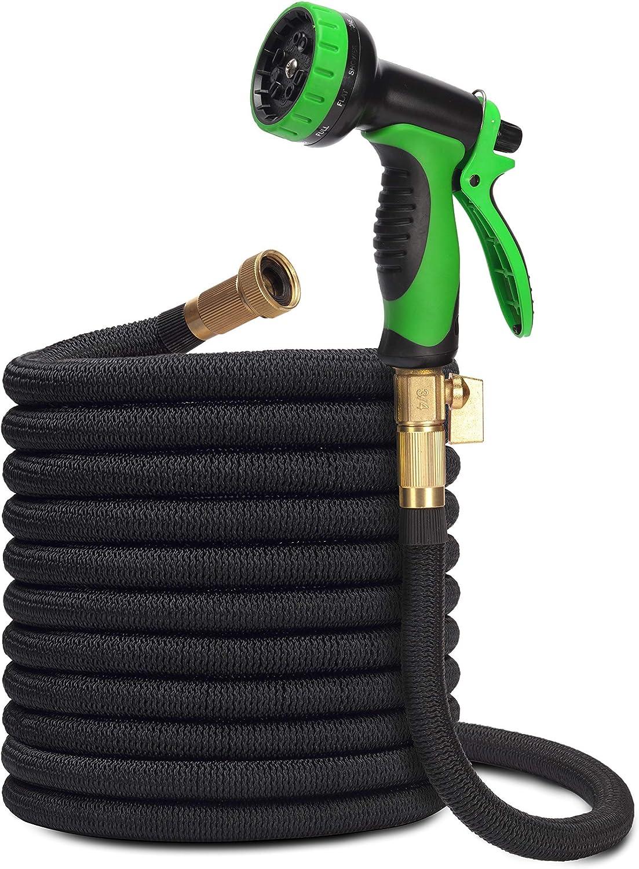 H2G Collapsible Garden Hose 75ft | Superior Strength Expanding Lightweight Water Shrink Hose 75 ft | Expandable Non Kink Flexible Black Shrinking Flex Hose | 3/4 Brass Connectors | 10 Mode Sprayer