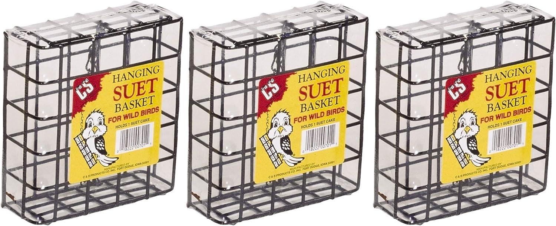 C&S 3 Pack of Hanging Suet Baskets, 1 Inch Wire, for Wild Bird Feeding