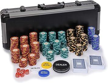 Riverboat Gaming Casino Royale Set de Poker - 14g fichas de póquer de 500 Piezas en Maleta (Extras Gratis): Amazon.es: Juguetes y juegos