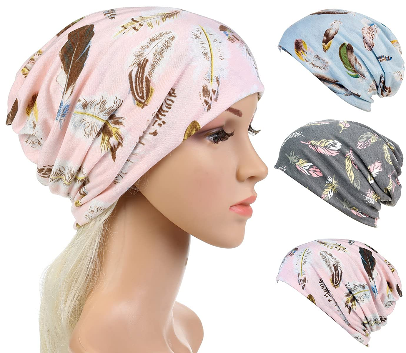 DancMolly Slouchy Chemo Caps for Women Hood Cotton Baggy Turban Hats Chunky Beanie with Cut Feather Prints for Cancer