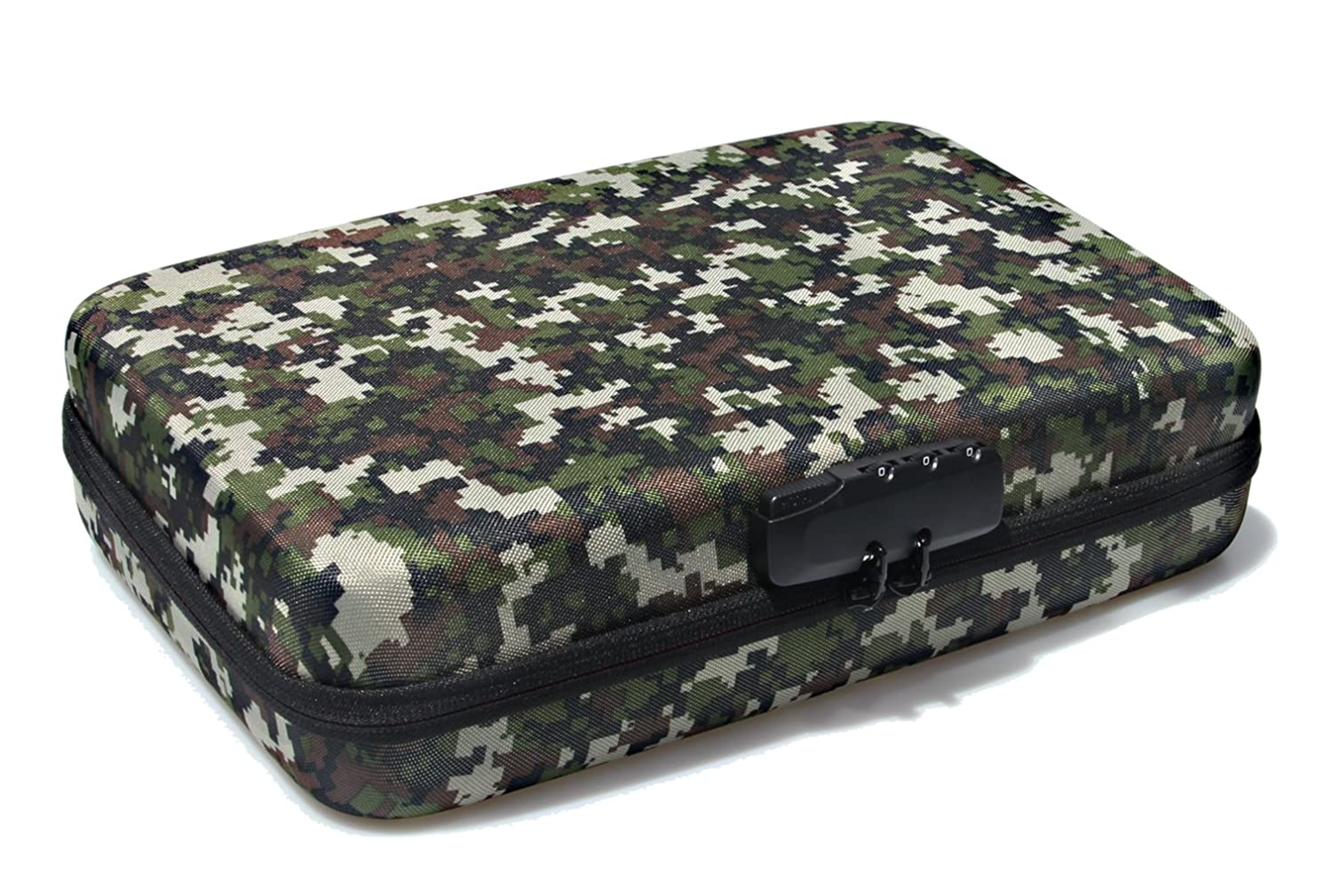 SHBC 4 Foams Free Choice Pistol Case with Password Lockable- Fits Full Size Handgun & Revolvers Waterproof Green Camouflage Bag with Handle Fits Most Glock, Smith and Wesson (S&W), Ruger, Colt,etc. beyond case inc