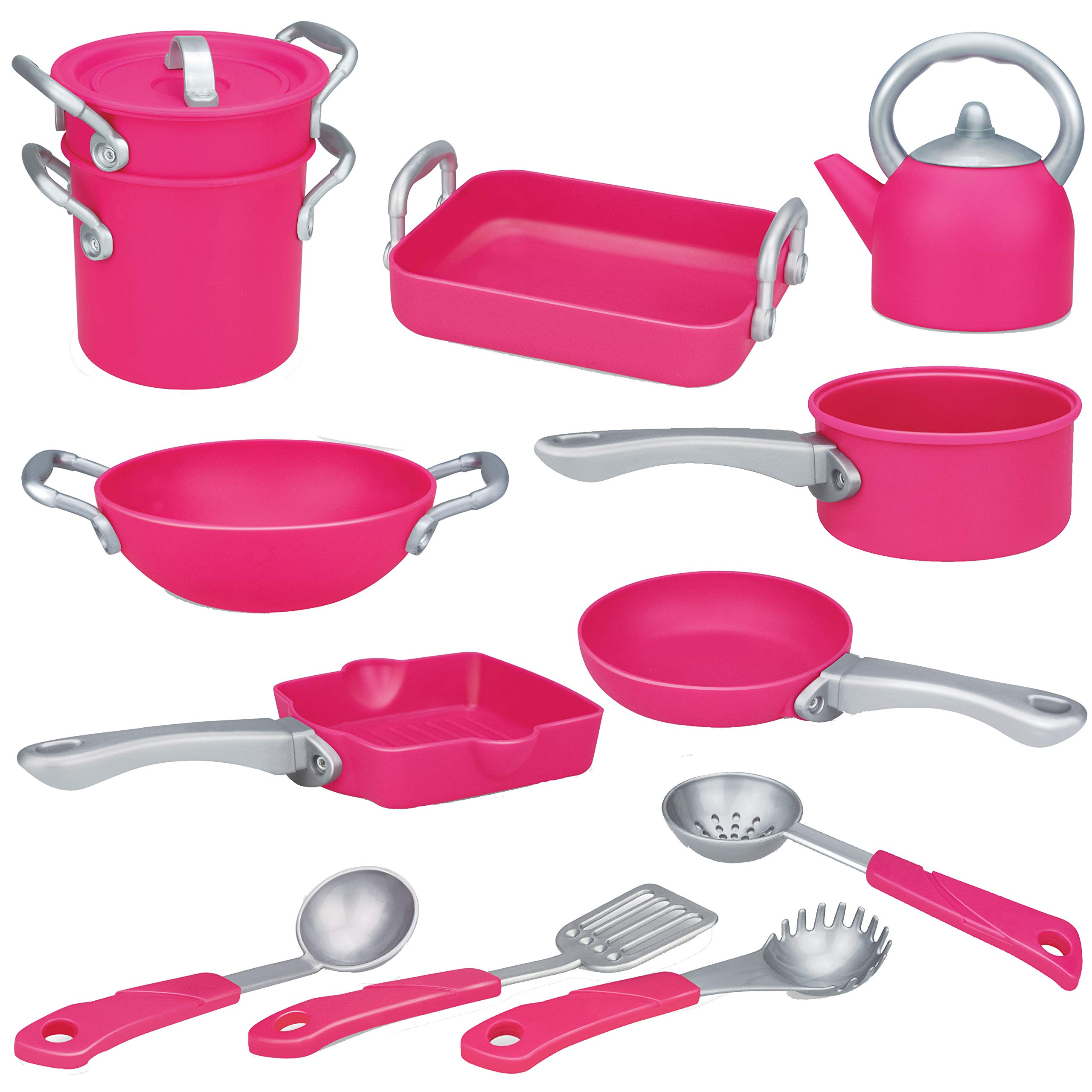 Liberty Imports Deluxe Pink Kitchen Gourmet Cookware Pots and Pans Playset for Girls (13 Pcs)