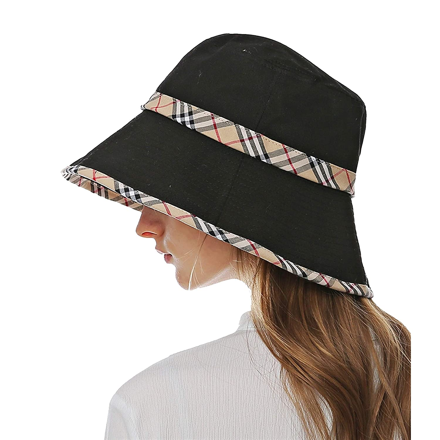 Zess Women 100/% Cotton Protection Wide Brim Foldable Floppy Sun Bucket Hat