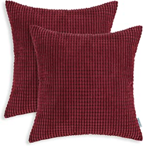 CaliTime Pack of 2 Comfy Throw Pillow Covers Cases for Couch Sofa Bed Comfortable Supersoft Corduroy Corn Striped Both Sides 18 X 18 Inches Burgundy