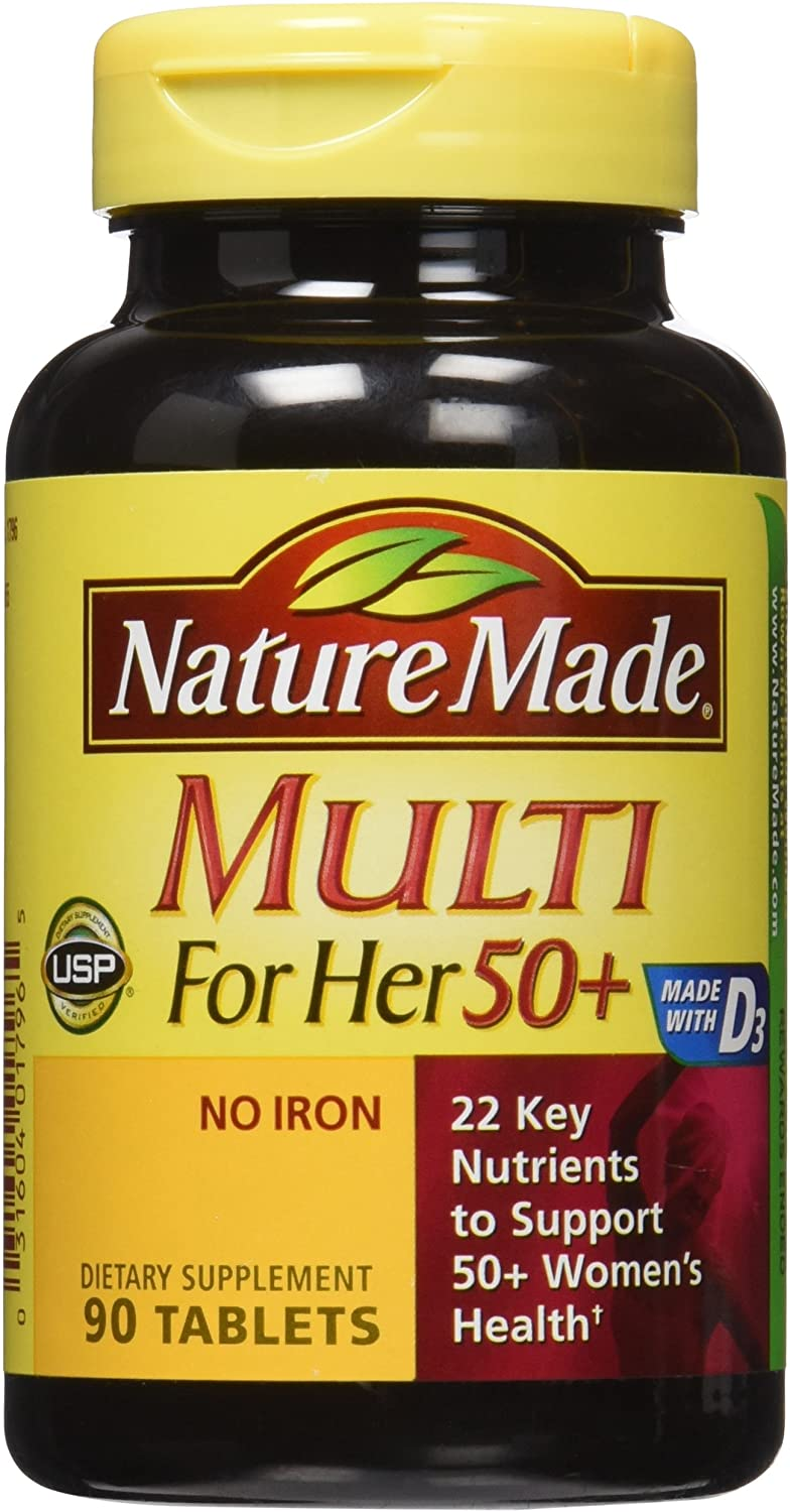 Nature Made Multi For Her 50+ Vitamin & Mineral Tabs, 90 ct (Pack of 2) (Packaging May Vary)