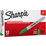 Sharpie Permanent Markers, Fine Point, Green, 12 Count