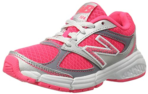 New Balance KJ514 Youth Lace Up Running Shoe, Pink/Silver, 4.5 W US Big Kid