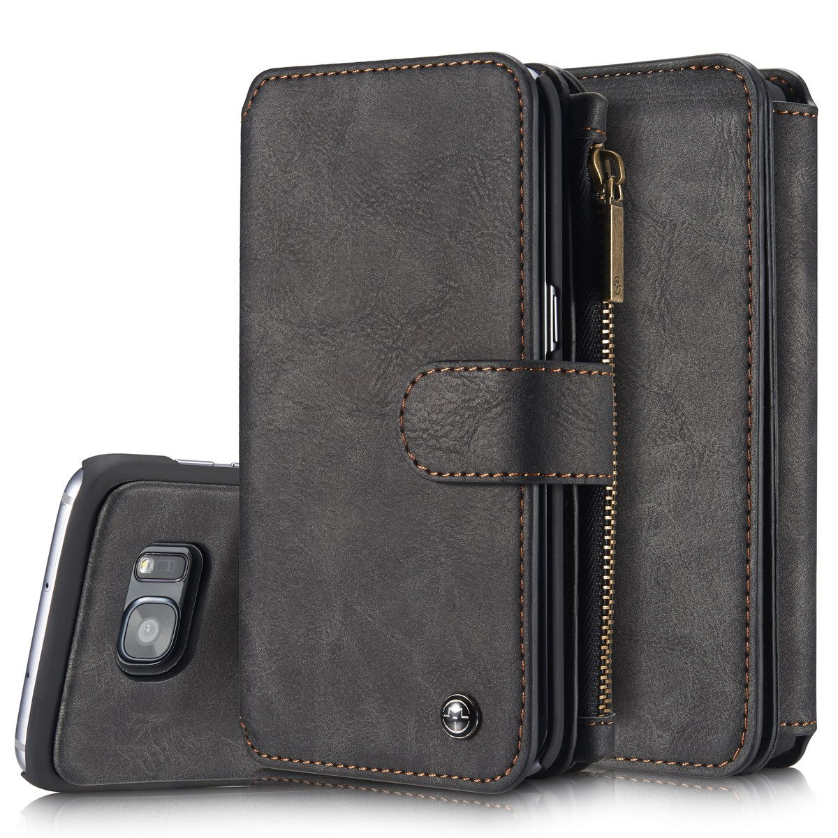XRPow Galaxy S7 Edge Magnetic Detachable Wallet Case Premium Back Cover Slim Leather Folio Wallet Holder Case for Samsung Galaxy S7 Edge BLACK