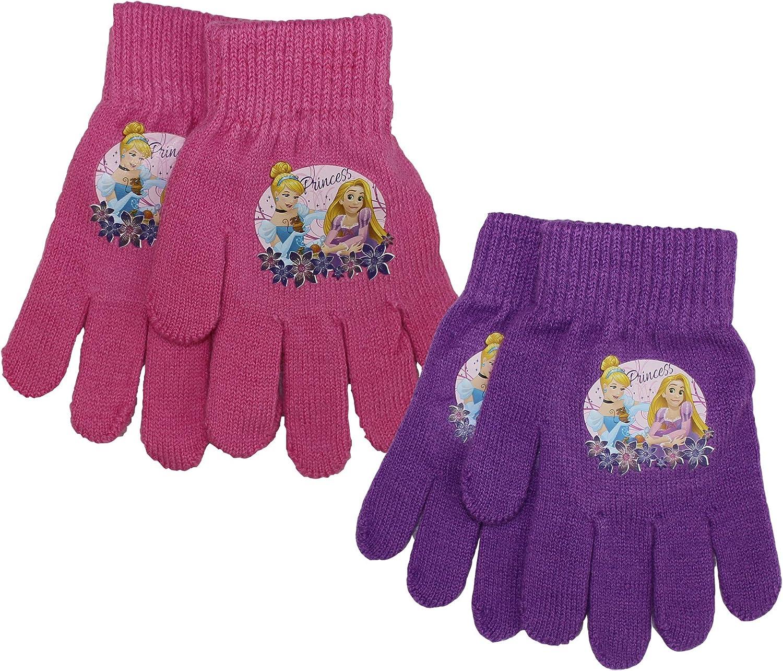 2 Pair Pack Childrens Disney Princess Thermal Warm Winter Gloves