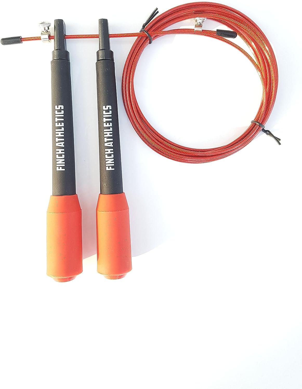 Corde /à sauter rouge Finch Athletics 2 Speed Rope r/églable en acier avec gaine en PVC