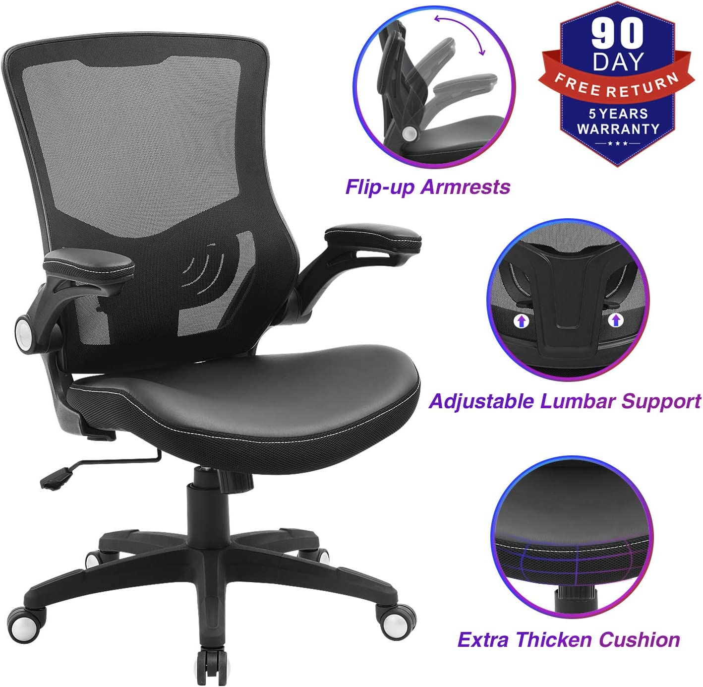 Office Chair Ergonomic Swivel Mesh Mid-Back Computer Desk Chair with Flip-up Arms, Black 300lb