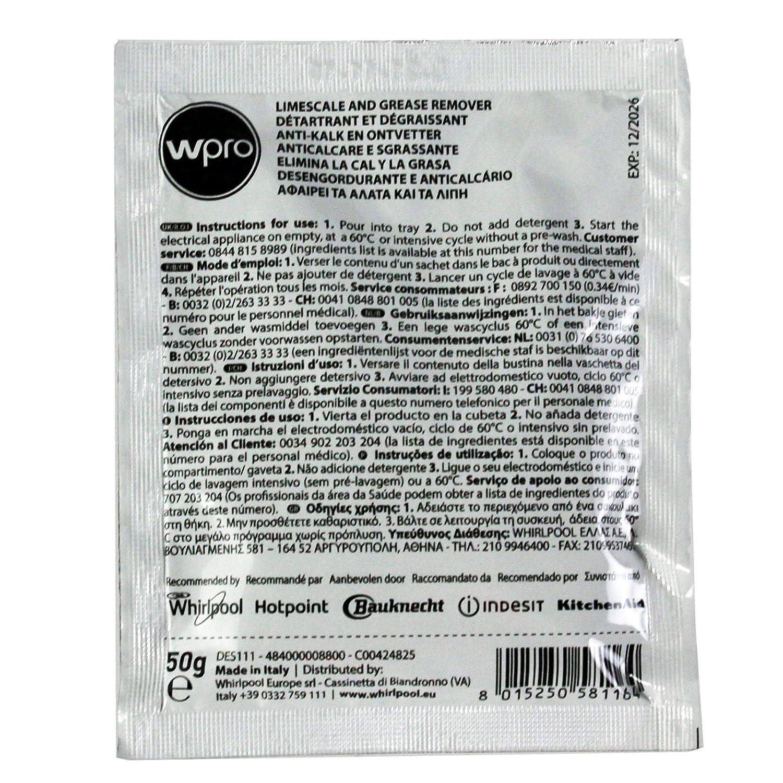 Indesit - Detergente removedor de Todos los lavavajillas y lavadoras (caja de 12)