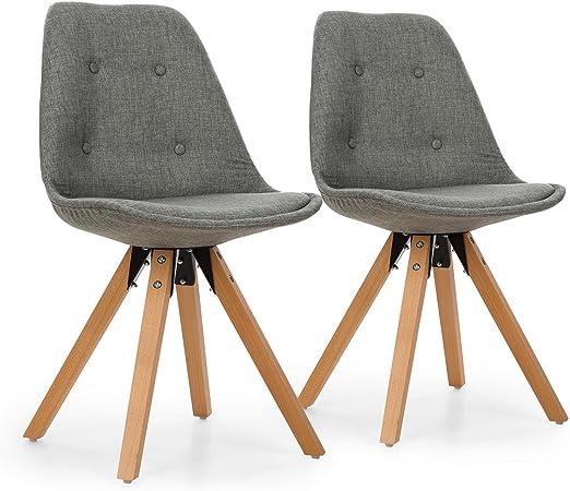 OneConcept Iseo Schalenstuhl, Retrostuhl, Esszimmerstuhl, 70er Jahre Look, Retro Design, 2er Stuhl Set, breite, leicht Gebogene Sitzfläche,