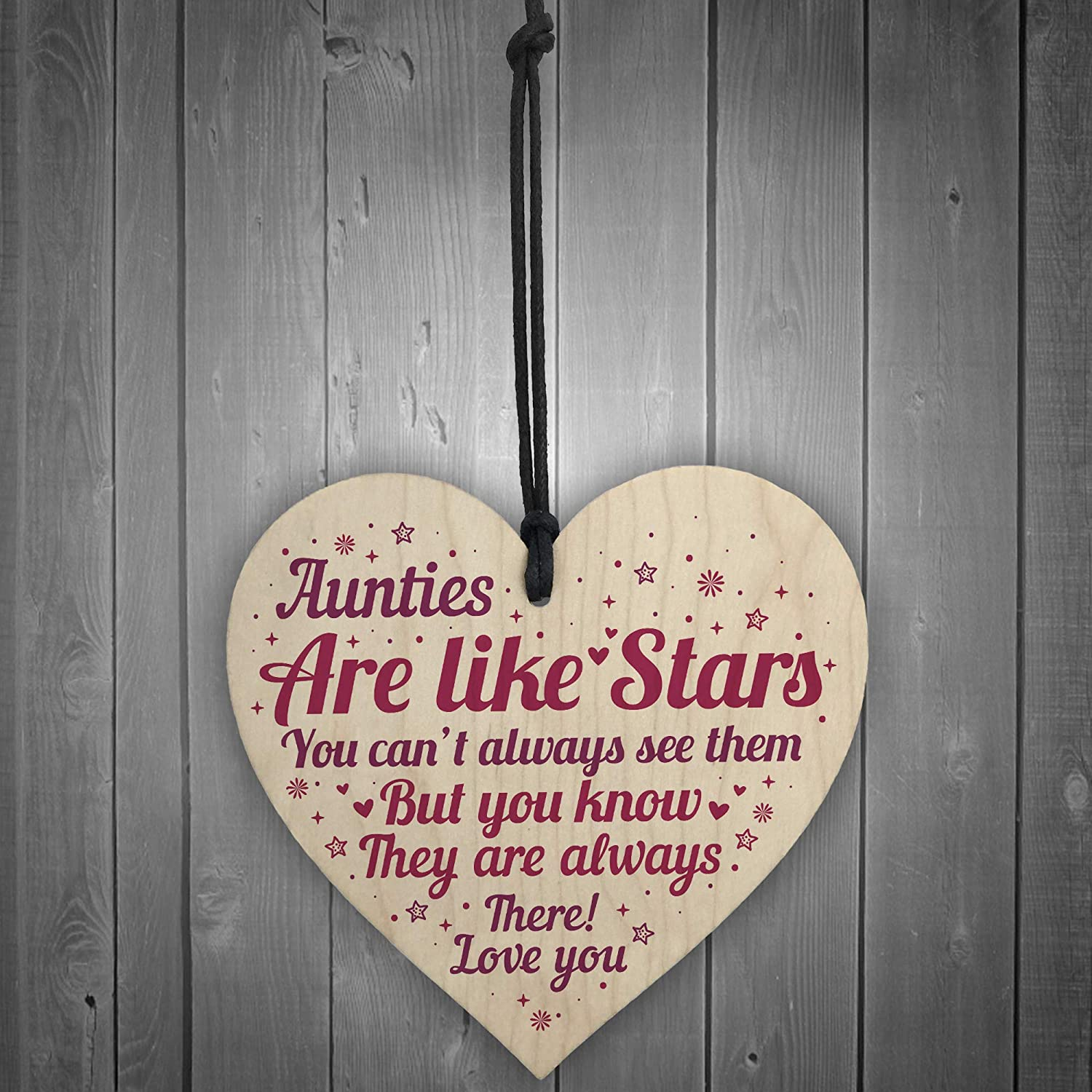 RED OCEAN Sister Auntie Aunt Aunty Wooden Heart Plaque Sign Birthday Thank You Keepsake Gift