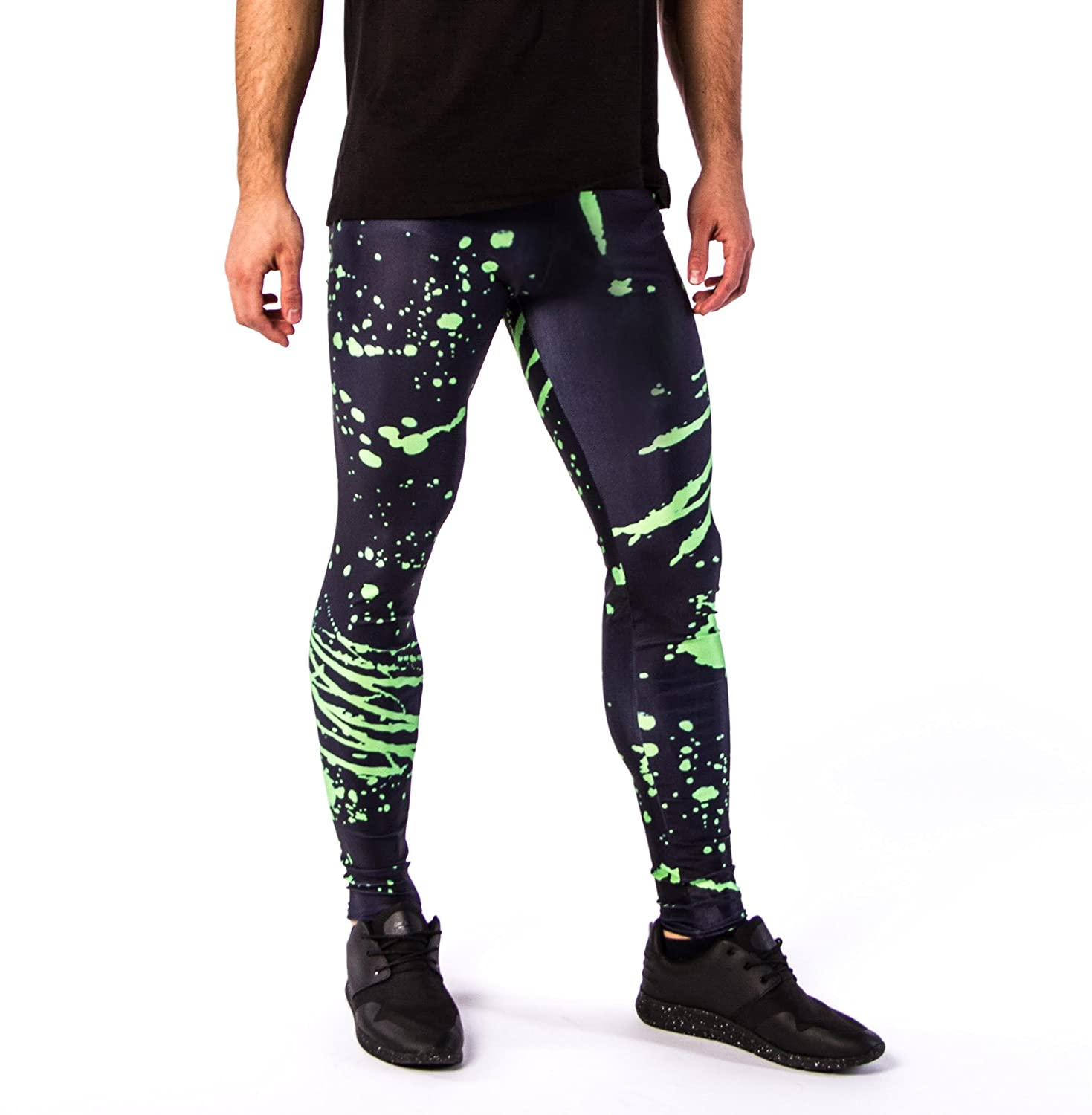 d559279d10247 Kapow Meggings New Colourful Print Mens Leggings, Fashion and Yoga Tights,  Cool Warm Baselayer Sports Pants: Amazon.co.uk: Clothing