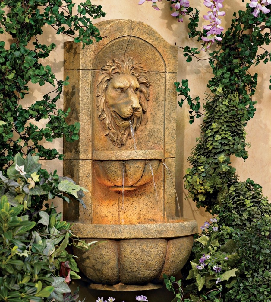 "Amazon.com: Lion Head 25"" High Stone Indoor/Outdoor Fountain ..."