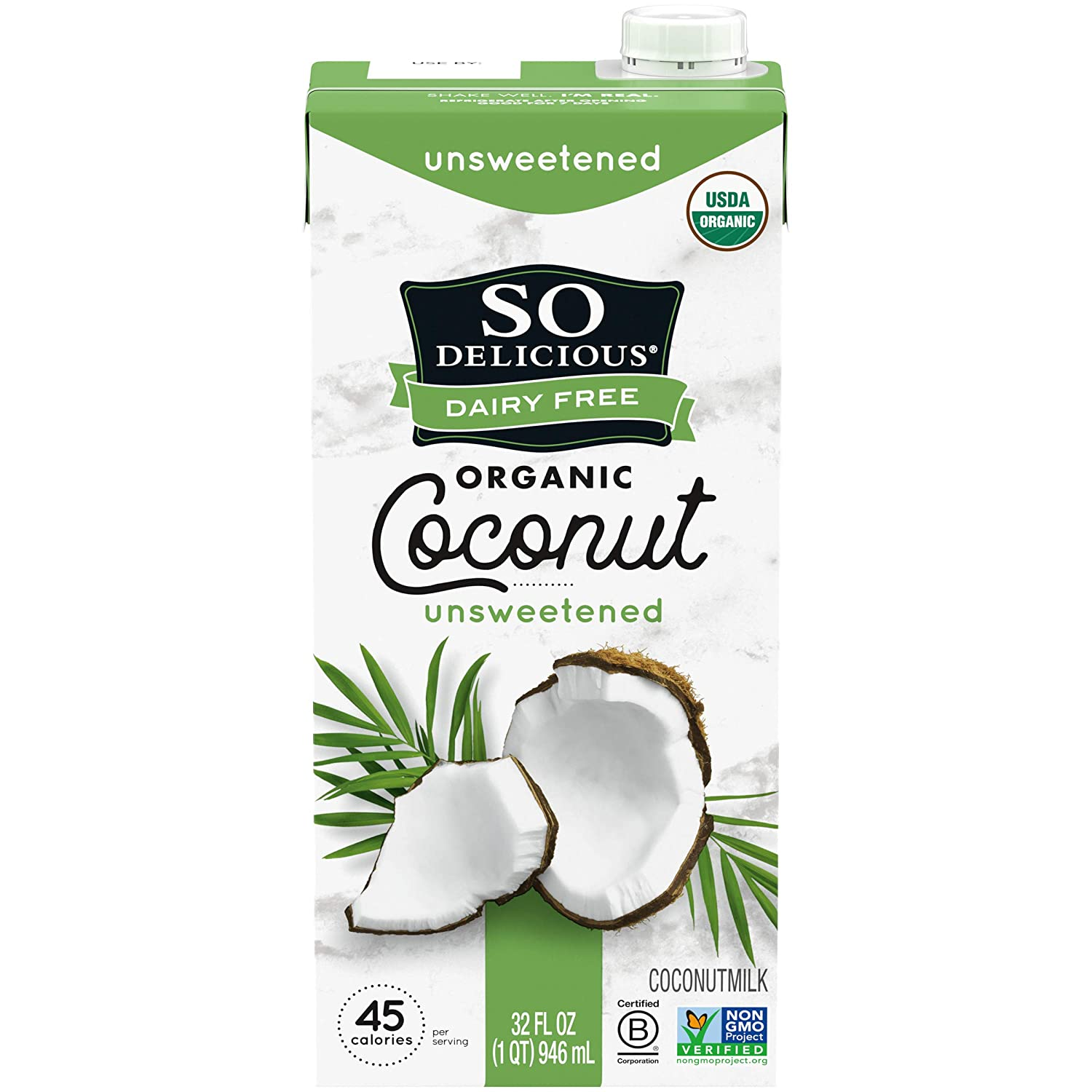 So Delicious Dairy Free Shelf-Stable Coconutmilk, Unsweetened, Vegan, Non-GMO Project Verified, 32 Ounce