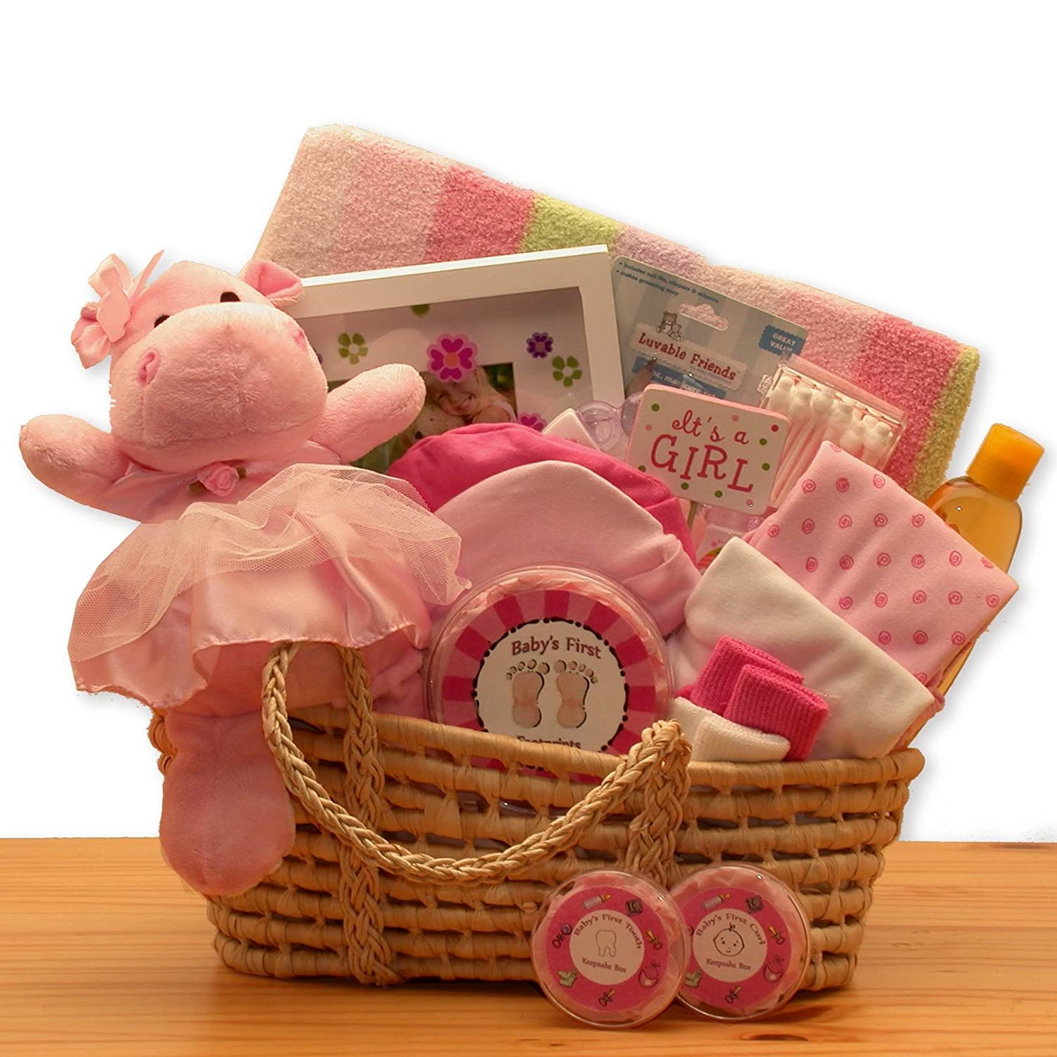 Amazon Com For A Precious New Baby Girl Gift Basket Great Shower Gift Idea For Newborns Moses Basket Organic Baby