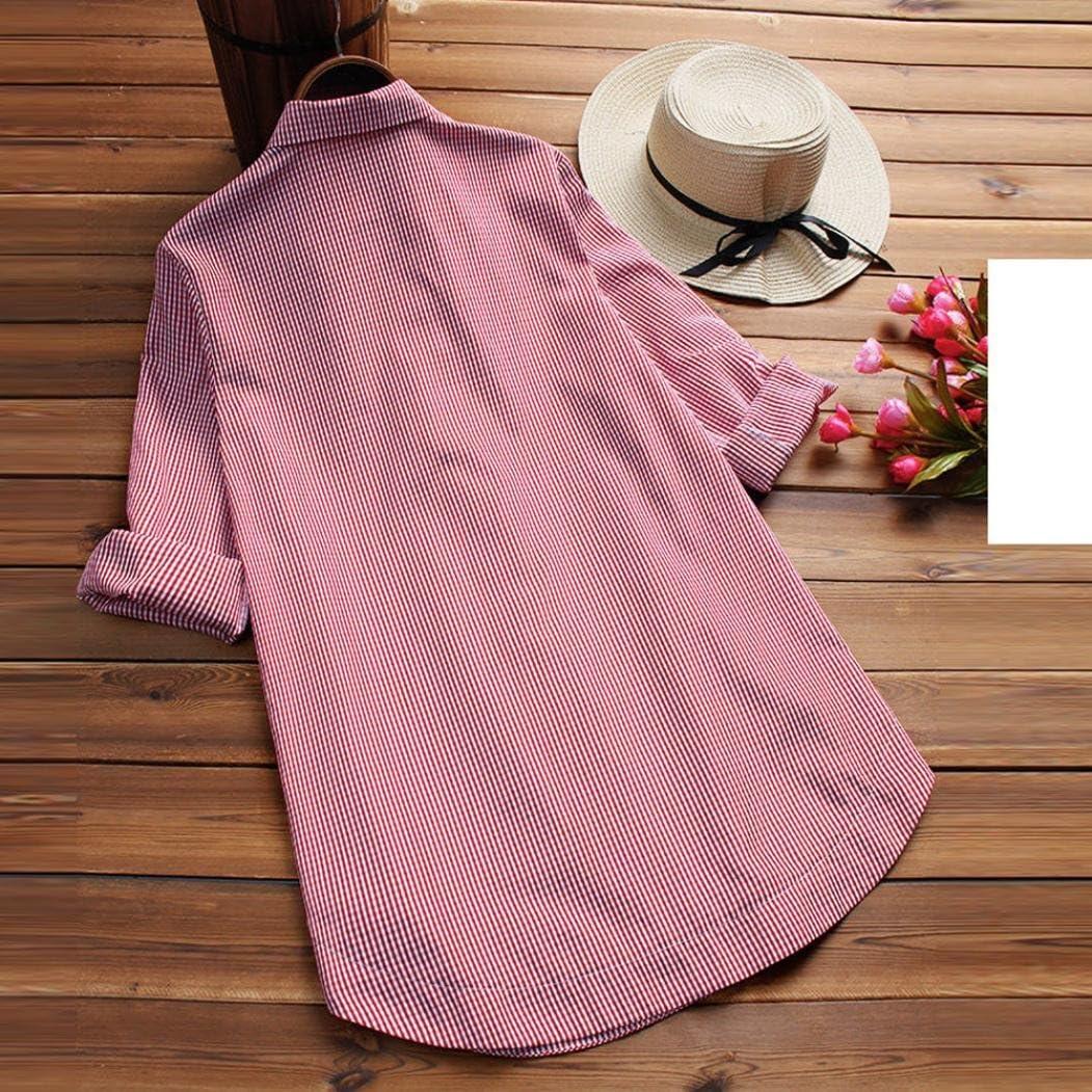 Women Blouses Long Sleeve 2018,Vanvler Ladies Loose Tops Lattice Button Casual Shirt Plus Size Female 3XL, Black