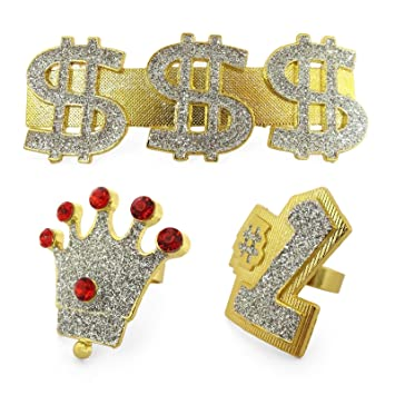 Adults Hip Hop Rapper Gold Bling Rings Dollar Crown Number One Gangster  Pimp Mens Womens Costume bcdee59cfa