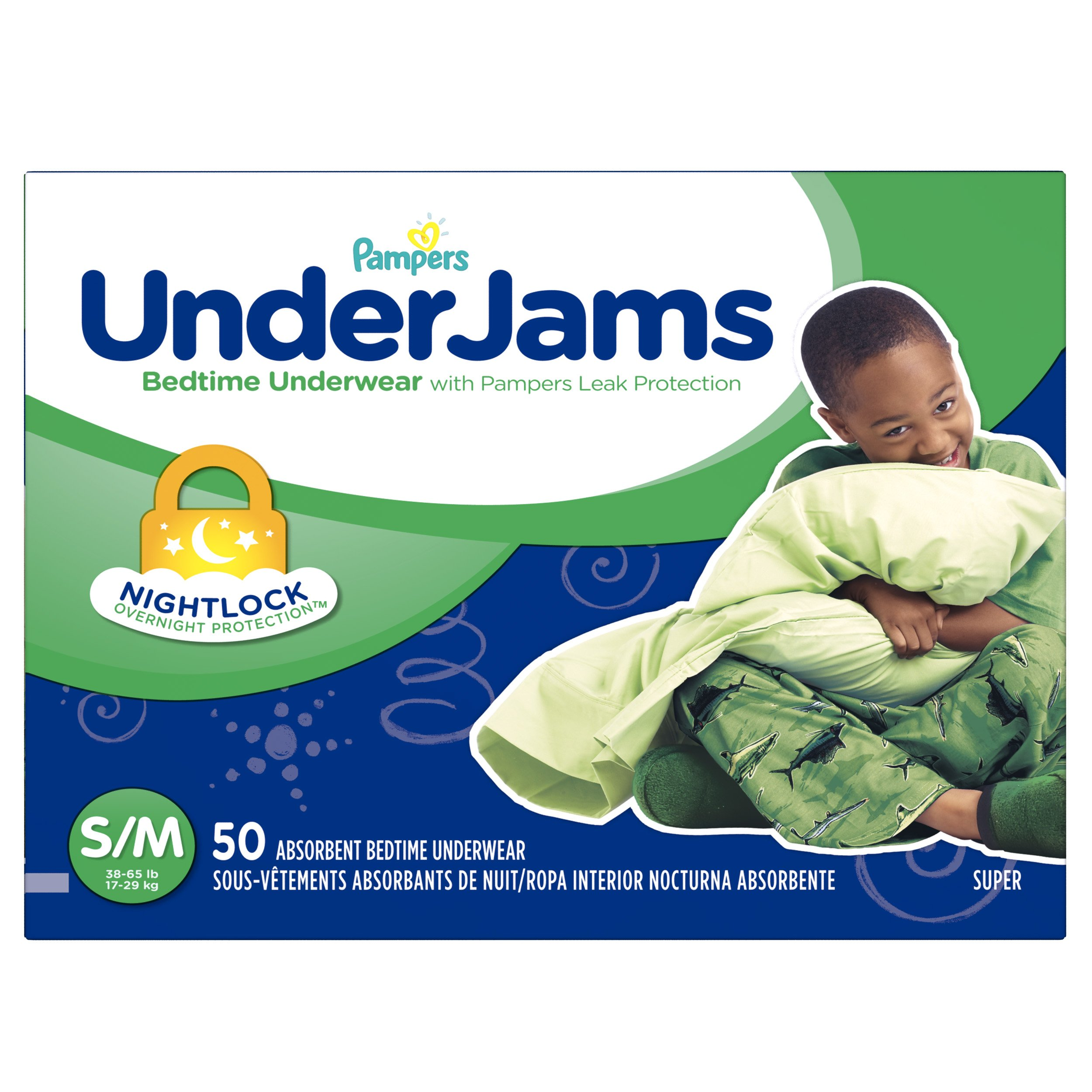 Pampers UnderJams Disposable Bedtime Underwear for Boys, Size S/M, 50 Count, Super Pack by Pampers