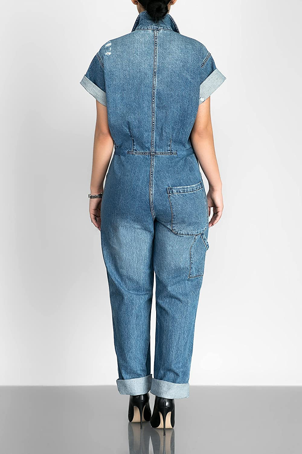 b2060c1c8f3 Amazon.com  Lovaru Women s Short Sleeve Boyfriend Ripped Button Down Loose Denim  Jumpsuit With Pockets  Clothing