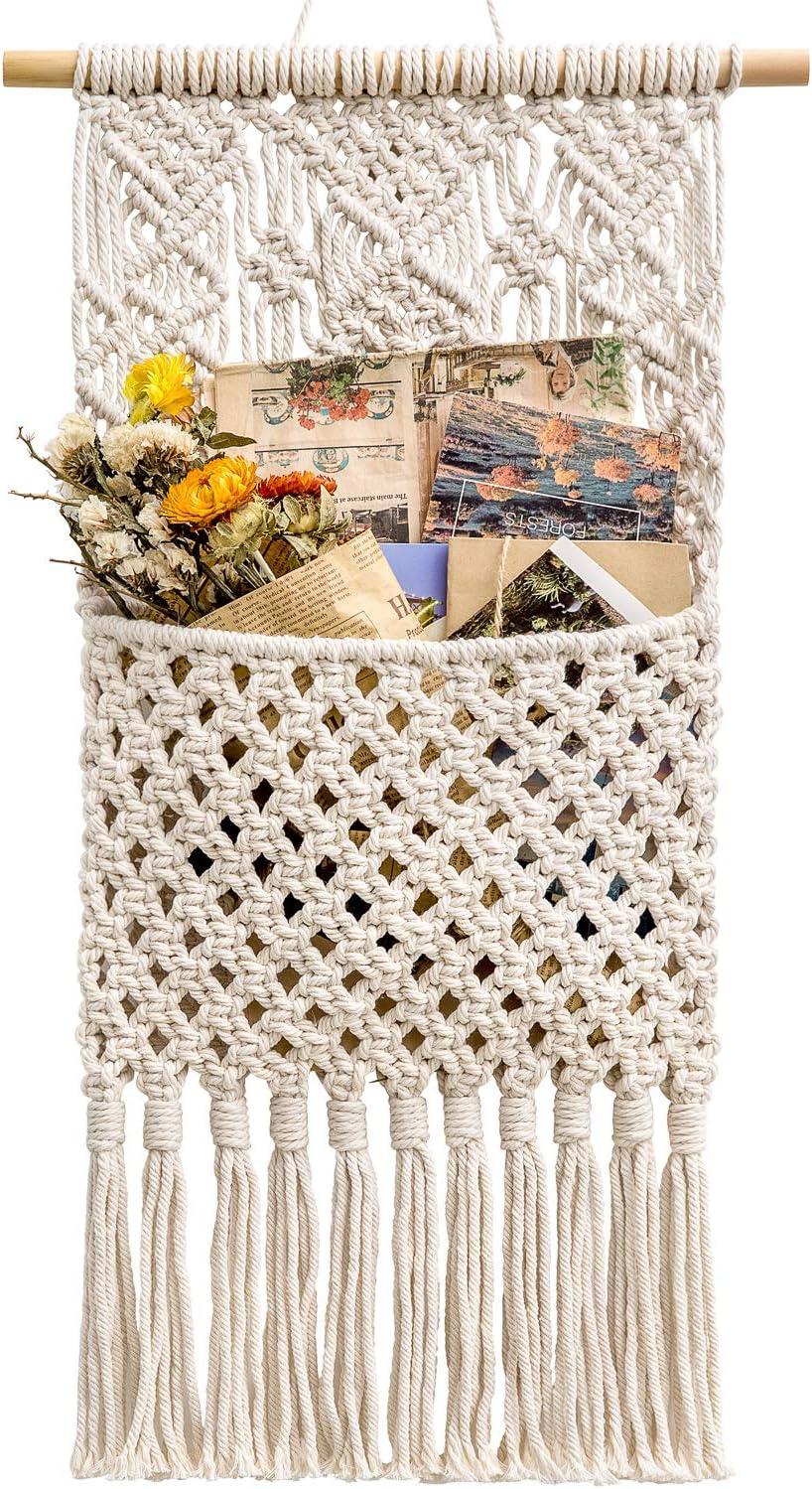 Decorative Magazines and Books Holder Bohemian Rustic Home Decor Towel Storage Basket Handmade Boho Room Decor for Bedroom Living Room Office Seagull Pattern Sunlit Boho Macrame Magazine Rack