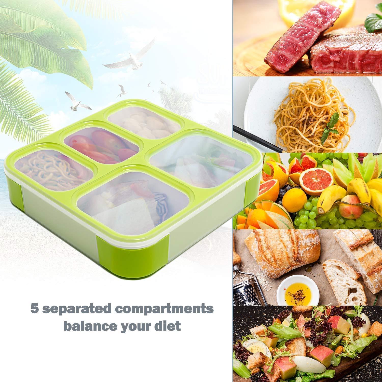 umweltfreundlich Zubereitung von Mahlzeiten auslaufsicherer Beh?lter und luftdichter Deckel lebenslustige Lunchbox trockene und fl/¨/¹ssige Kost Portionskontrolle BPA-frei Bento-Box f/¨/¹r gesunde