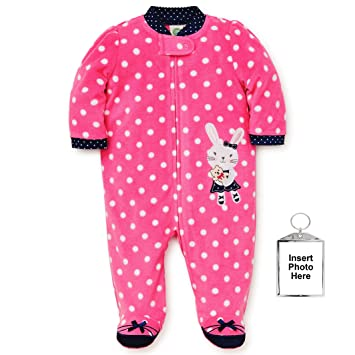 Little Me Winter Fleece Baby Pajamas with Feet Blanket Sleeper Footie Bunny Pink 12 Month