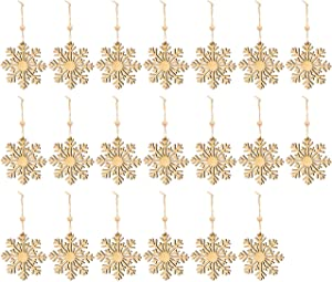 Juvale 20-Pack of Wooden Snowflake Ornaments - Hanging Christmas Crafts, Winter Wonderland Themed Snowflake Embellishments, Brown - 3.9 x 6.6 x 0.18 Inches