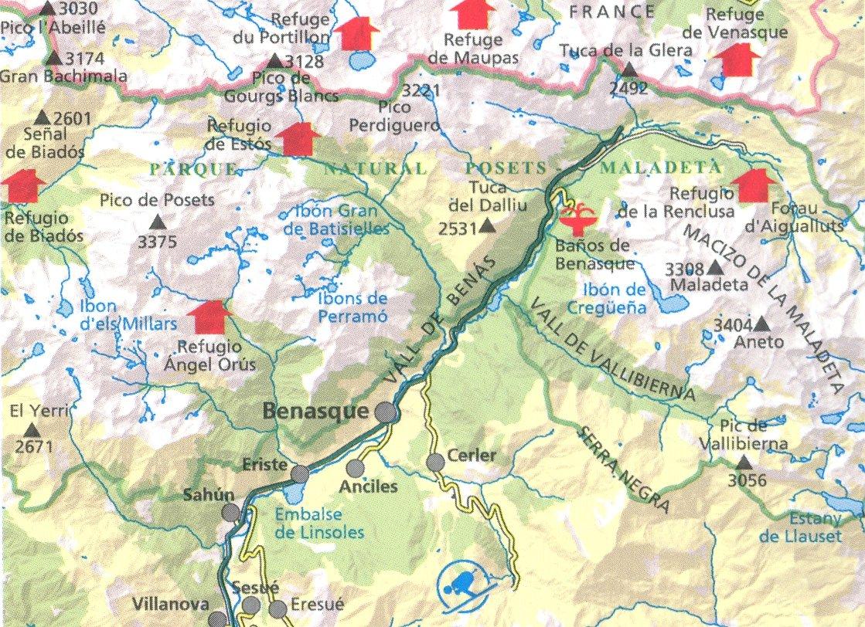 Valle de Benasque 1:30.000 mapa topográfico de senderismo, a ...