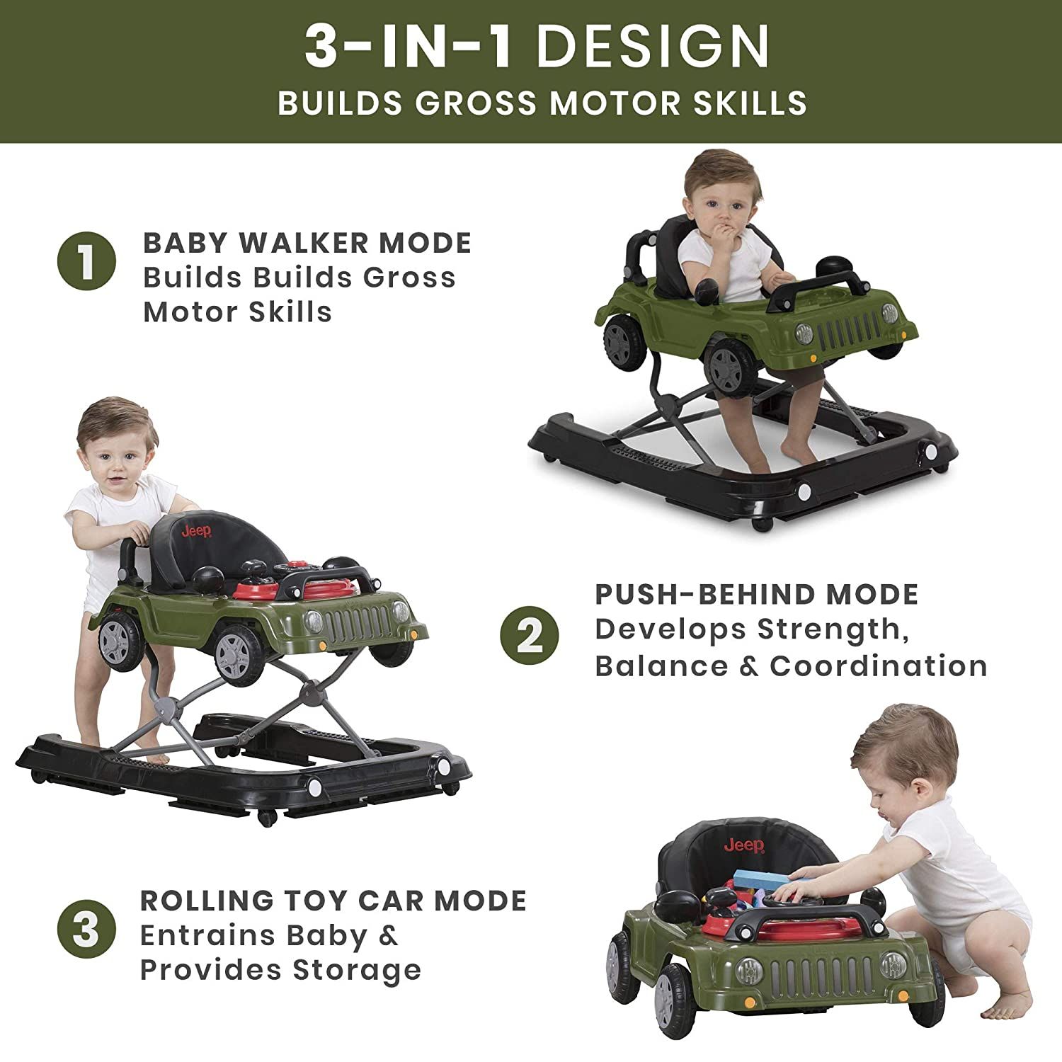 Jeep Classic Wrangler 3-in-1 Grow With Me Walker by Delta Children