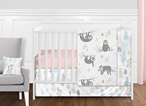 Sweet Jojo Designs Pink and Grey Jungle Sloth Leaf Baby Girl Nursery Crib Bedding Set Without Bumper - 11 Pieces - Blush, Turquoise, Gray and Green Tropical Botanical Rainforest