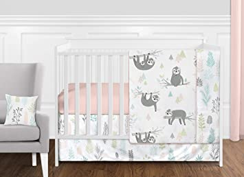 Sweet Jojo Designs Pink And Grey Jungle Sloth Leaf Baby Girl Nursery Crib Bedding Set Without Bumper 11 Pieces Blush Turquoise Gray And Green Tropical Botanical Rainforest Baby