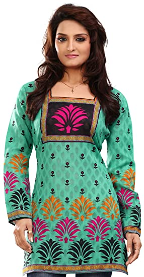 af3a0699ee29e Amazon.com  Maple Clothing India Tunic Top Kurti Womens Printed Cotton  Blouse Indian Apparel (Green