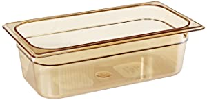 Rubbermaid Commercial Products Hot Food Insert Pan for Restaurants/Kitchens/Cafeterias, 1/3 Size, 4 Inches Deep, Amber (FG217P00AMBR)
