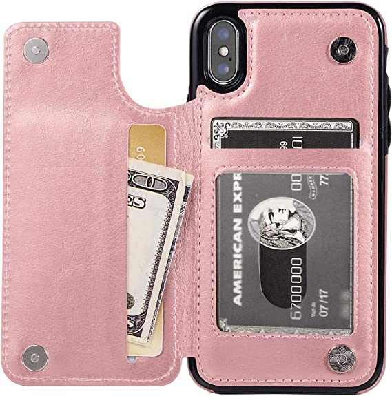 Embossed Butterfly Premium PU Leather Double Magnetic Buttons Flip Shockproof Protective Cover for iPhone 11 Pro 5.8 Inch Rose Gold Vaburs iPhone 11 Pro Case Wallet with Card Holder
