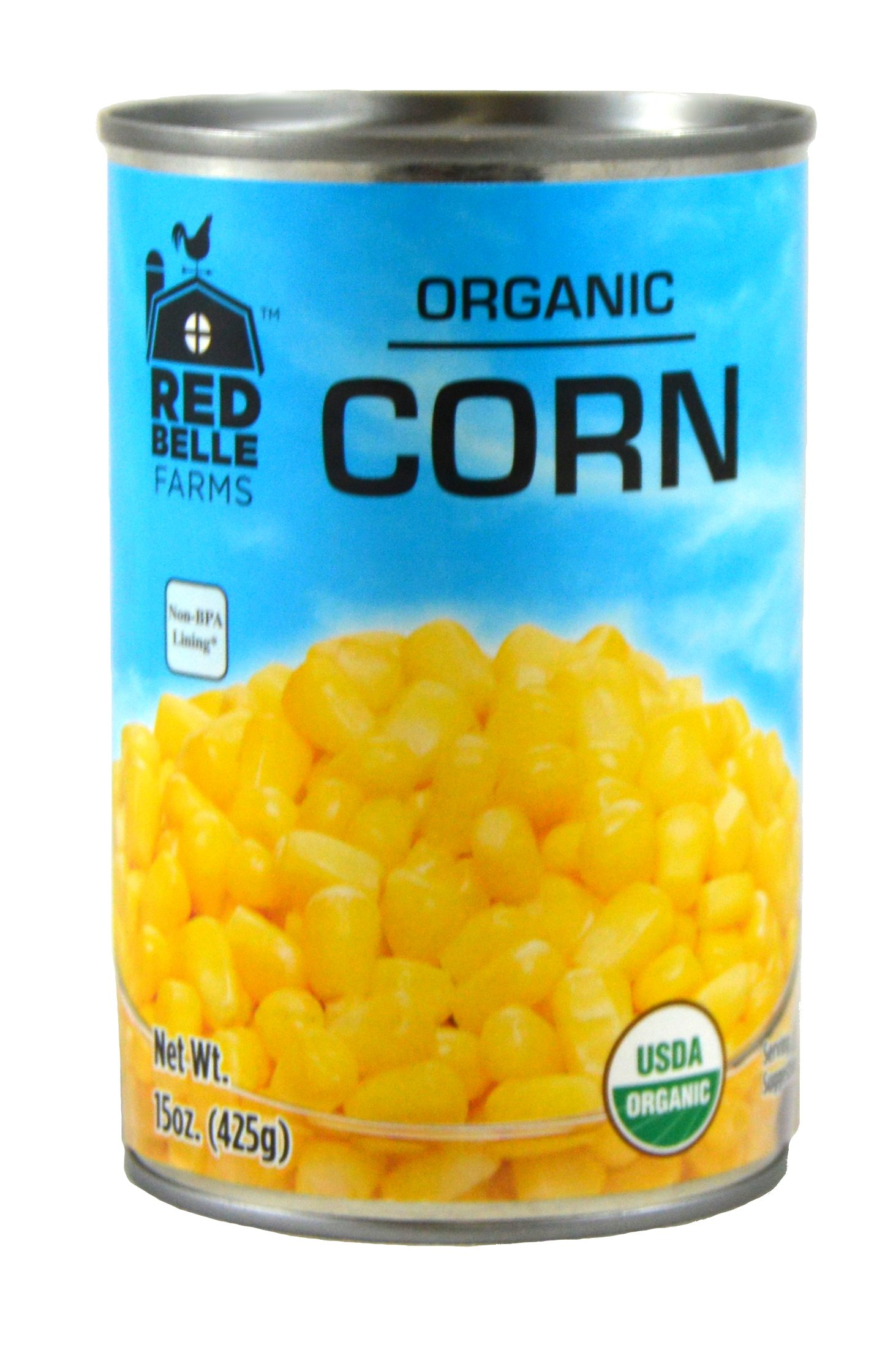 Red Belle Farms Organic Whole Kernel Corn, 15 oz (425 g) (Pack of 12)